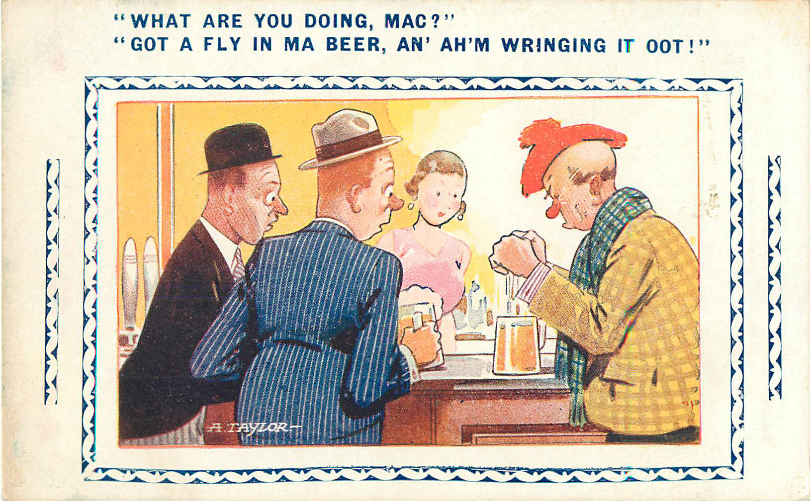"Alcohol Postcard - ""What are you doing, Mac?"""
