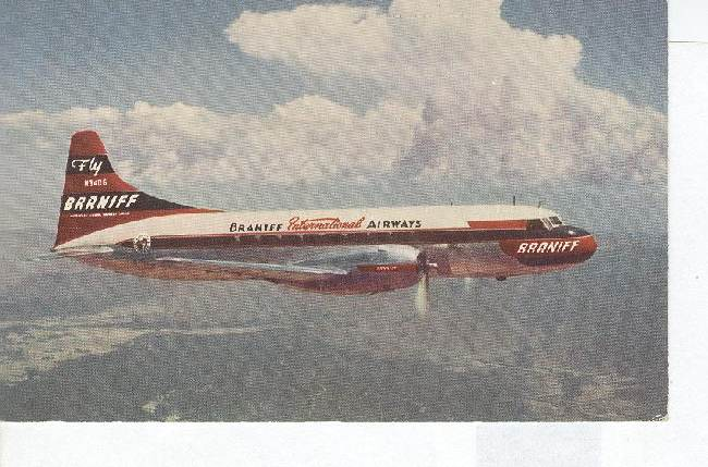 Braniff THE SUPER CONVAIR 340 Airliner Postcard