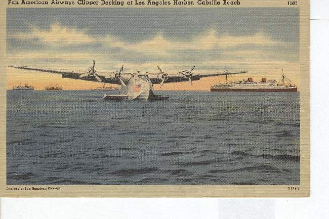 Pan American Airways Clipper Docking At Los Angeles Harbor