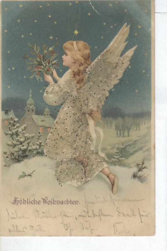 Christmas Postcard - Froliche Weihnachten Angel With Holly 1900