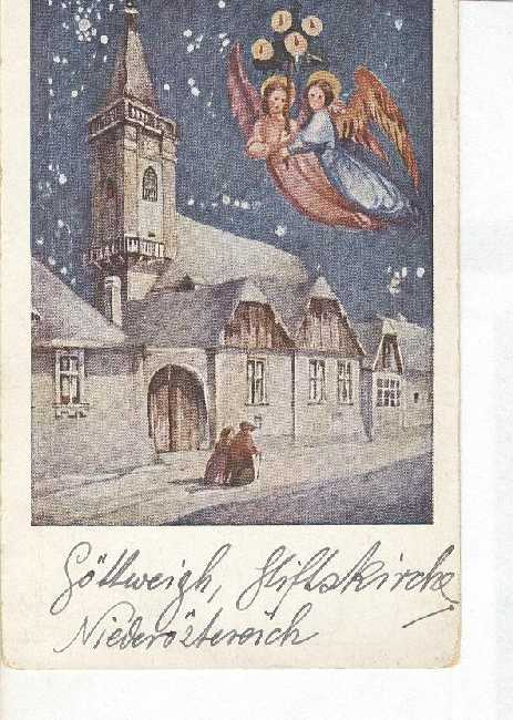 German Christmas Greeting Postcard Snow Village