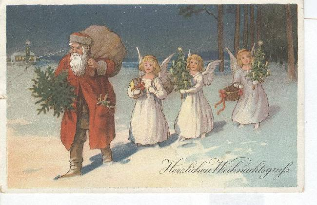 Christmas Postcard-Santa with Three Angels in the Snow GERMAN