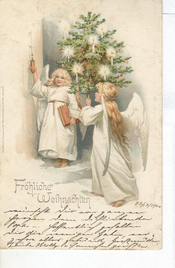 Angels Christmas Greeting Postcard 1900