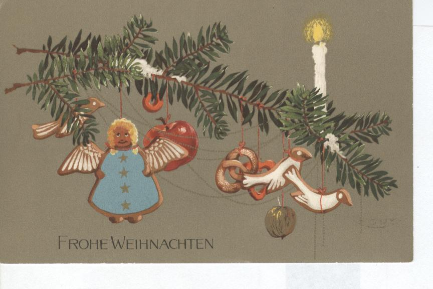 Christmas Postcard-COOKIE ORNAMENTS FROHE WEIHNACHTEN