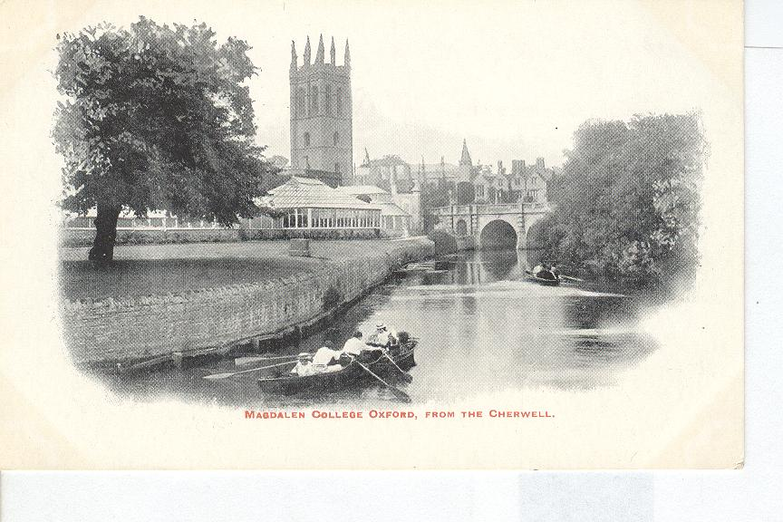 Magdalen College Oxford, From the Cherwell England Postcard