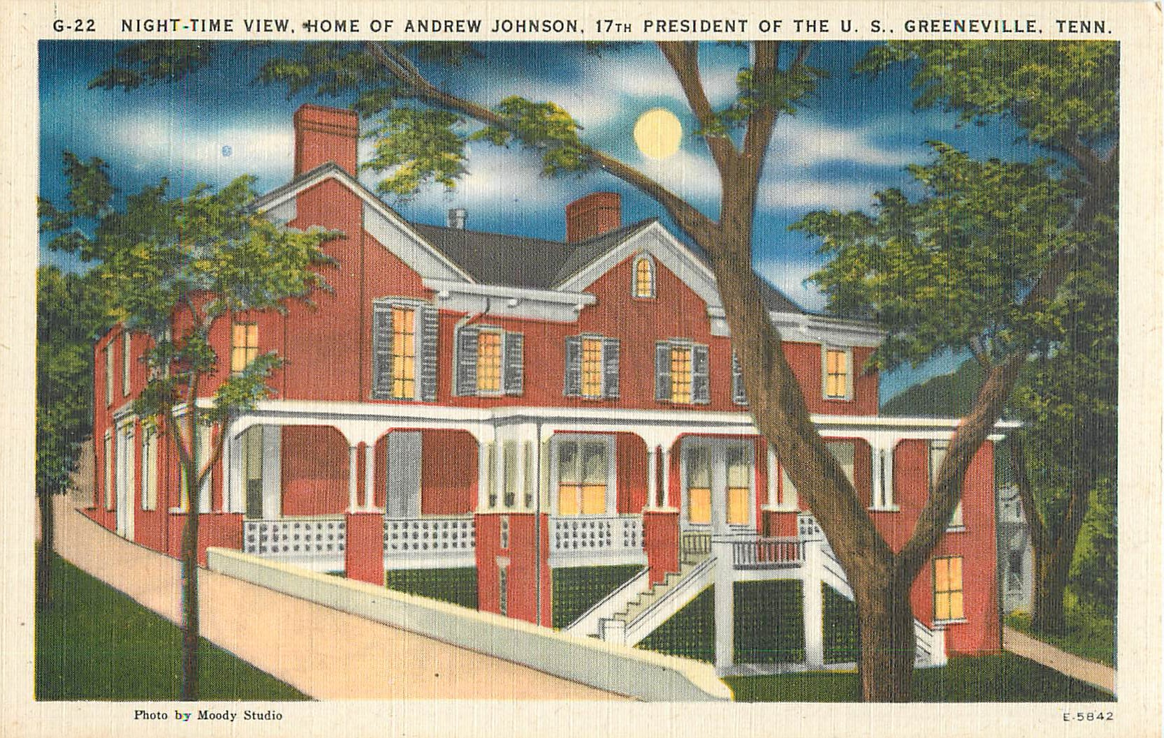 """Night-Time View, Home of Andrew Johnson"""