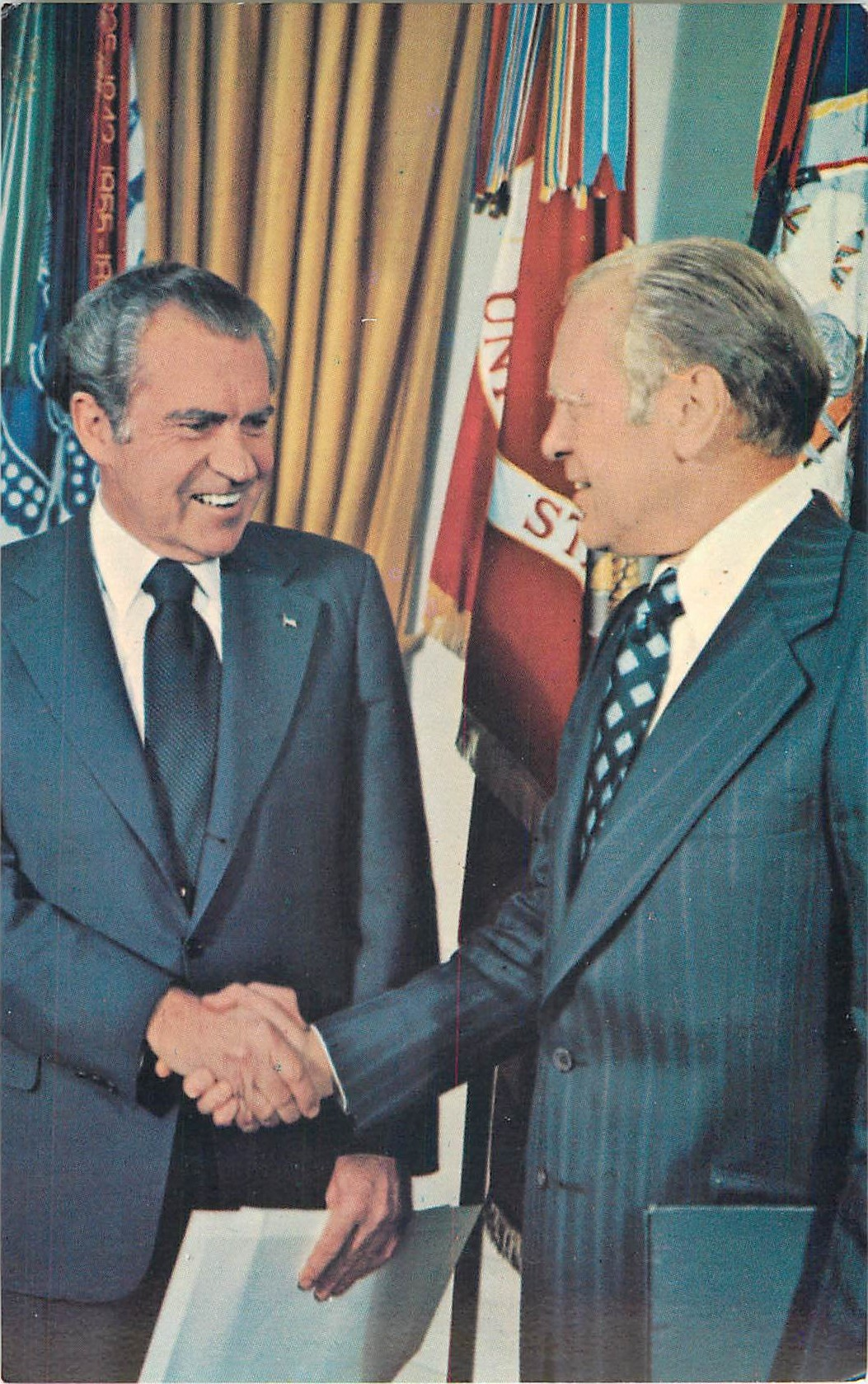 """Nixon and Ford Shaking Hands"""