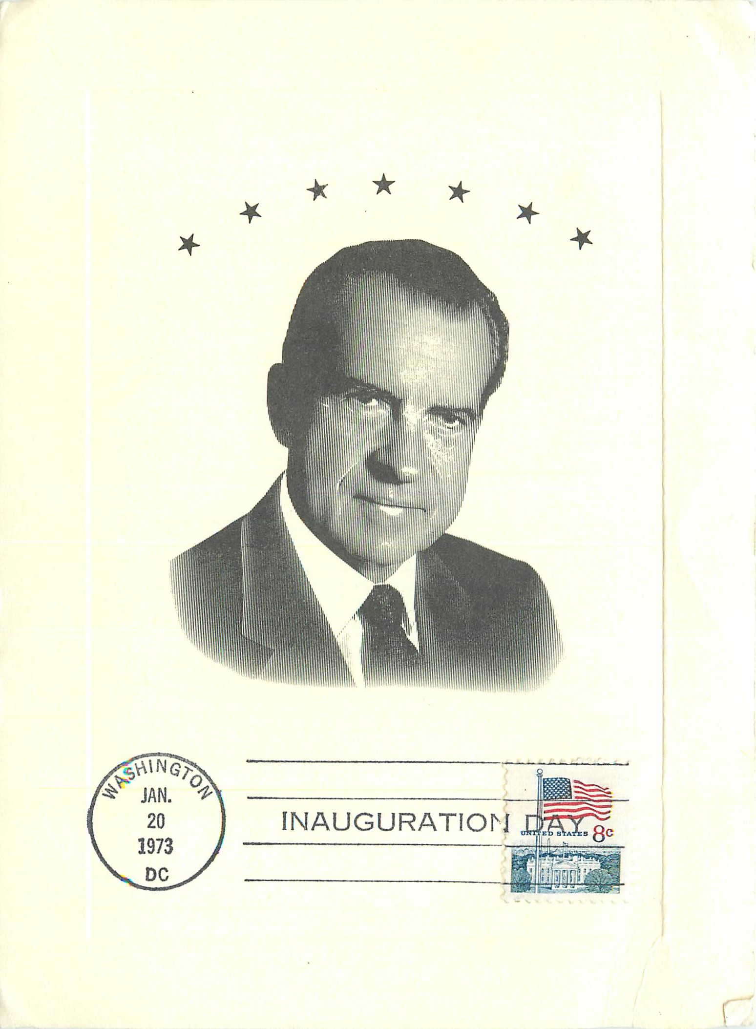 """Oversized Postcard with Inauguration Day Stamp"""