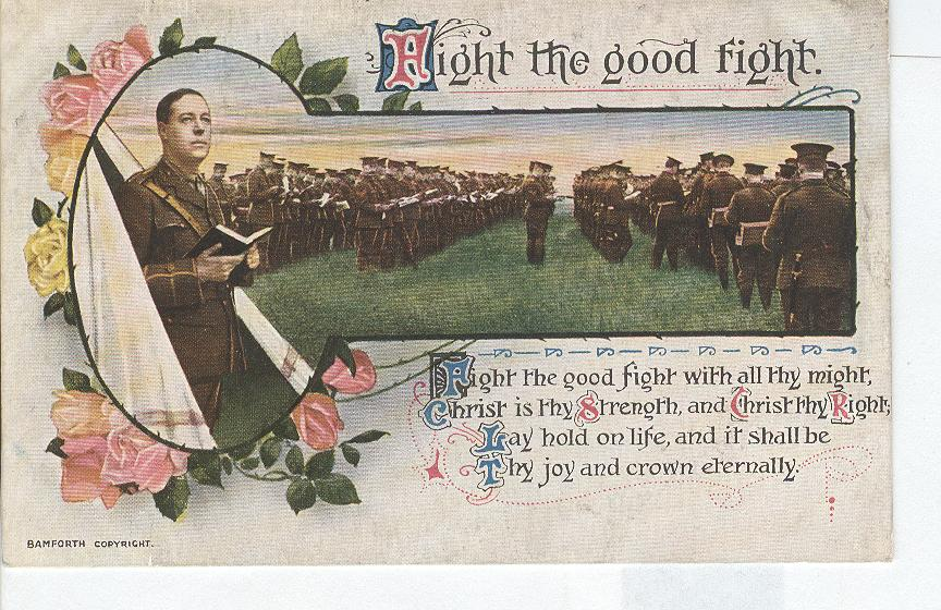 "World War 1 ""Hight The Good Fight"" Story War Postcard"