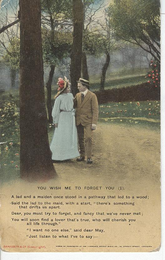 "World War 1 ""You Wish Me To Forget You"" War Postcard"