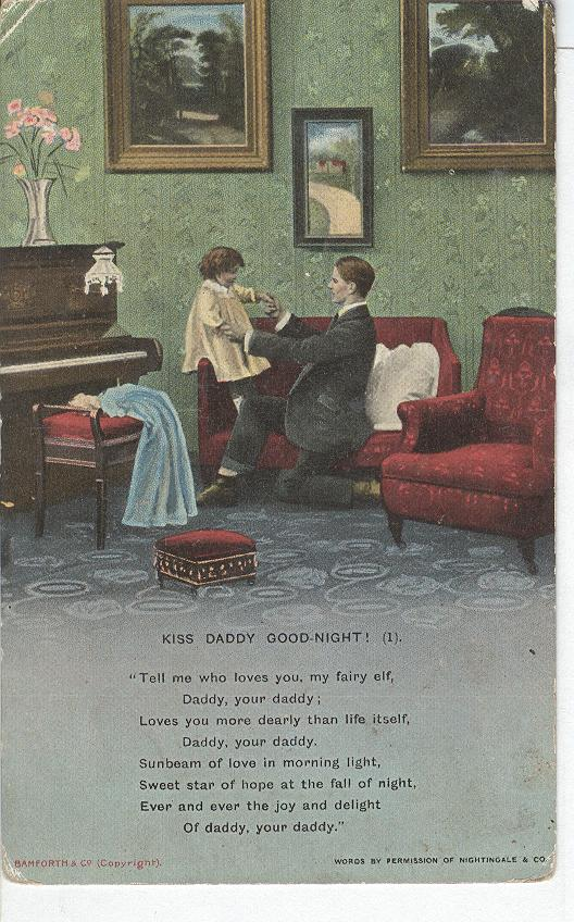 "World War 1 ""Kiss Daddy Good-Night"" Story War Postcard"