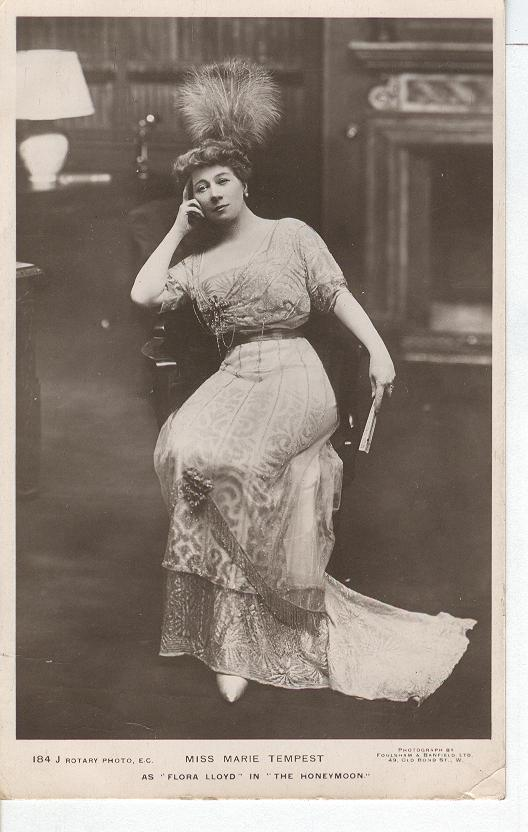 "Miss Marie Tempest As ""Flora Lloyd"" in ""The Honeymoon"" Postcard"