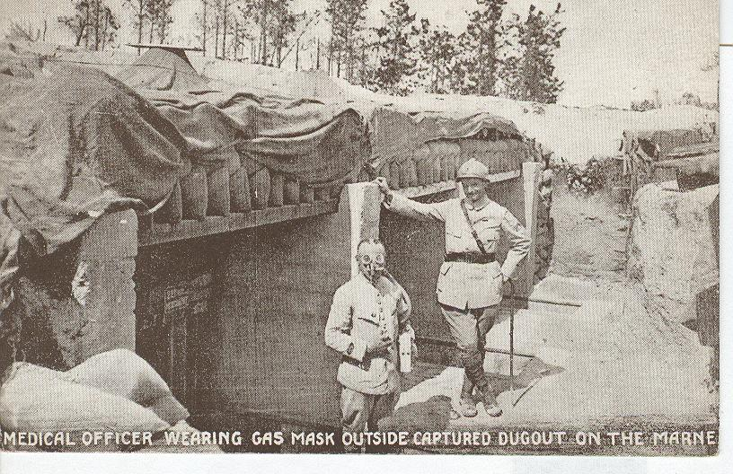 World War 1 Medical Officer Wearing Gas Mask War Postcard
