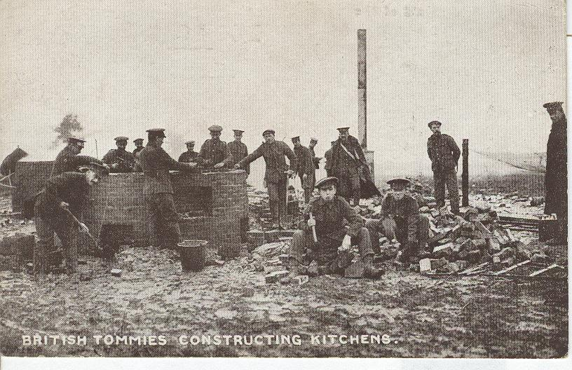 World War 1...British tommies Constucting Kitchens..War Postcard