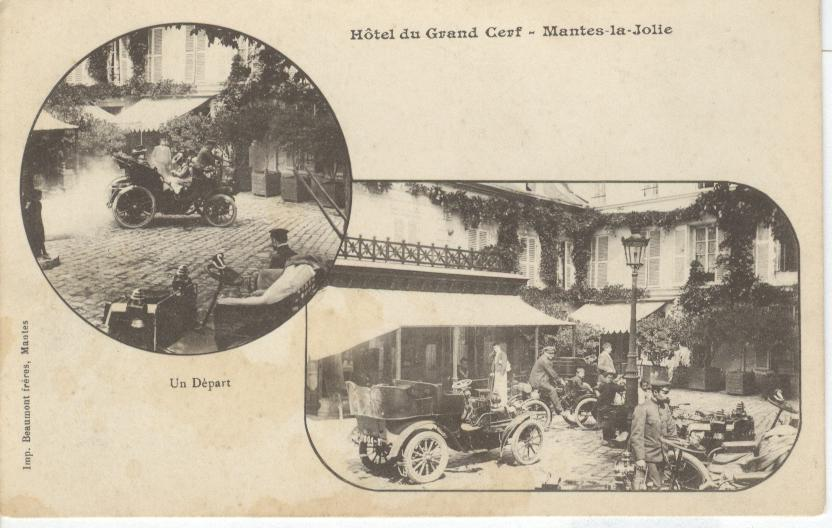 Hotel du Grand Cerf-Mantes-la-Jolie.Hotel of Cars.France Postcar