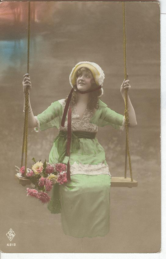 Swing of beauty, Girl dressed in green dress with flowers