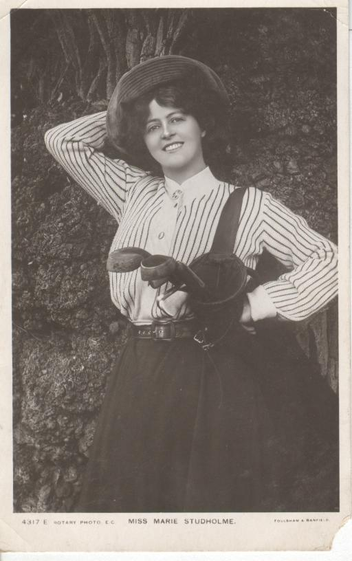 Miss Marie Studholme Holding Bag of Golf Clubs Postcard