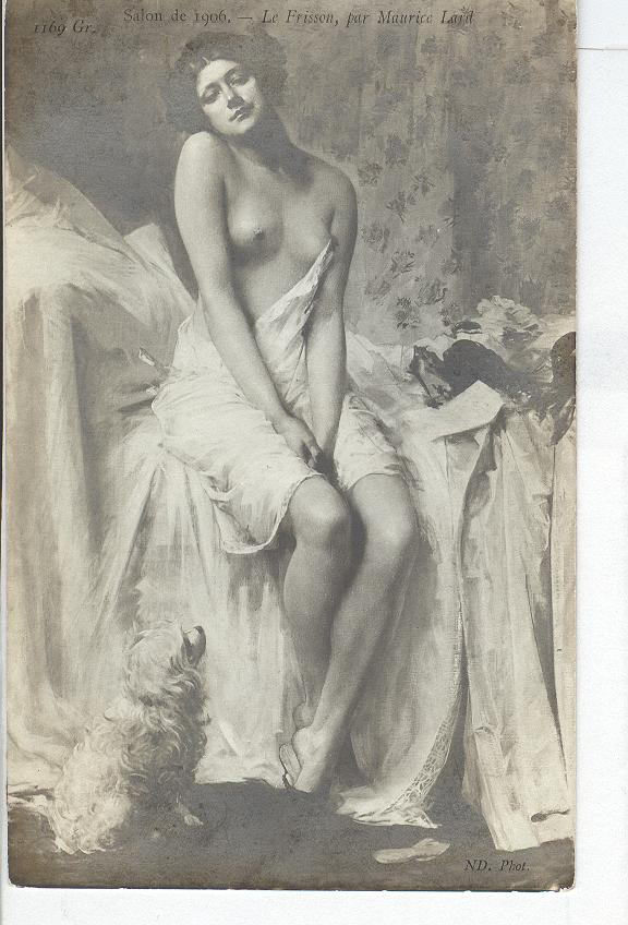 1906 French Nude Sitting On Bed...Dog On Floor