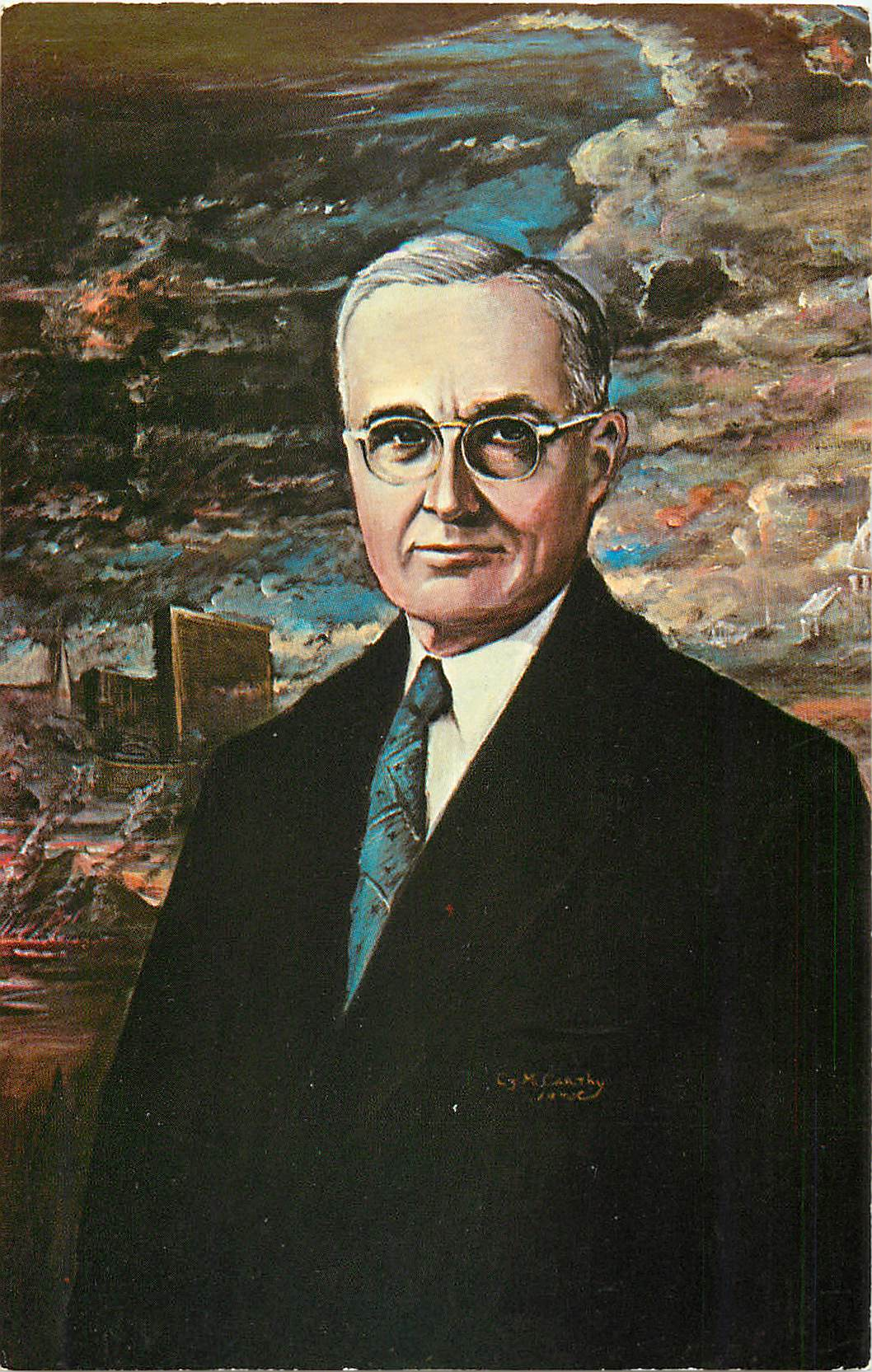 """Harry S. Truman Original Oil Painting by Charles J. McCarthy"""