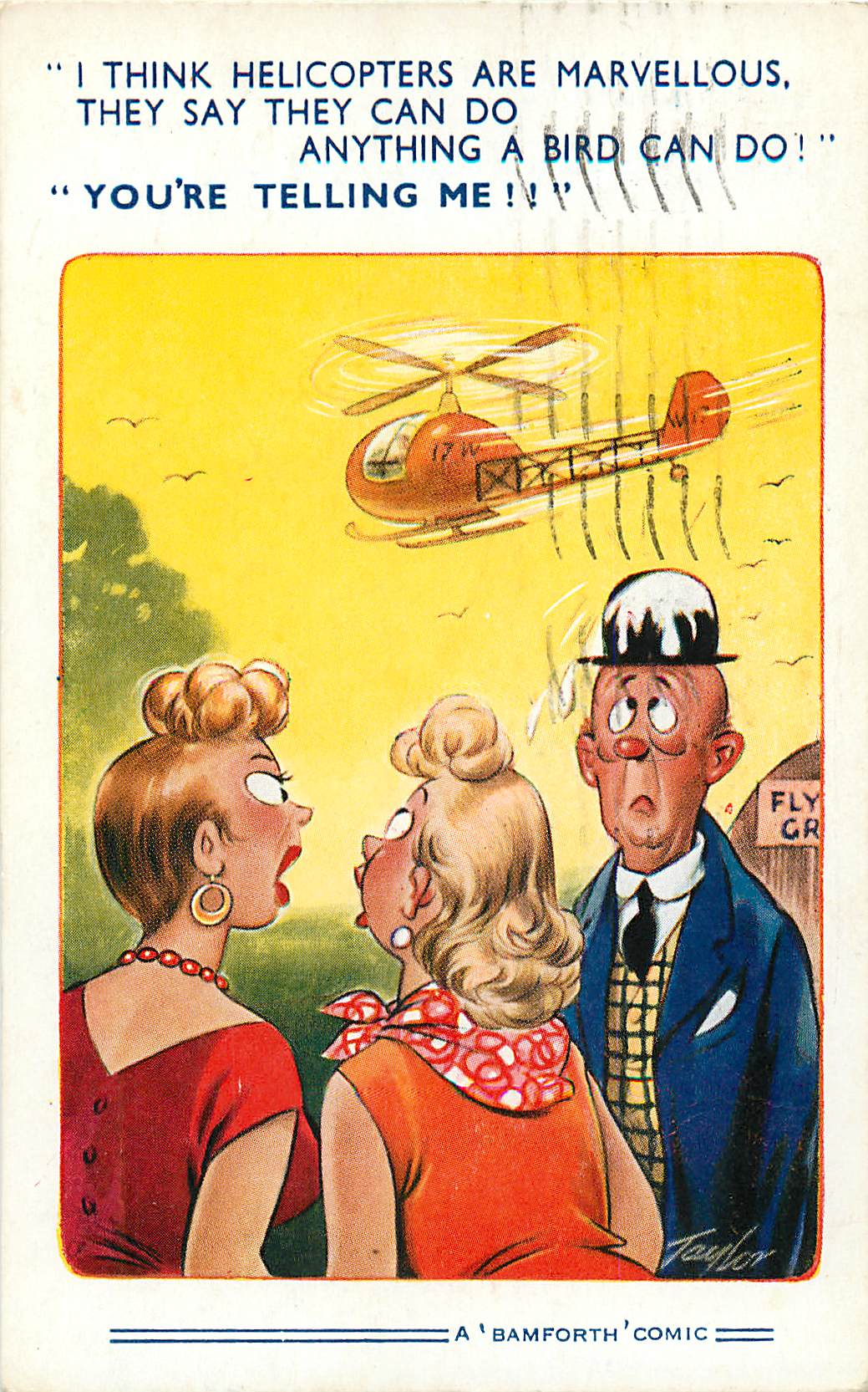 """I Think Helicopters are Marvellous"" Bamforth Comic"
