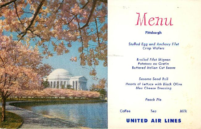 United Airlines Menu Postcard at Pittsburgh