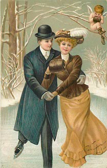 Ice Skating - Lovers - Postcard E.C.C. Series No. 145