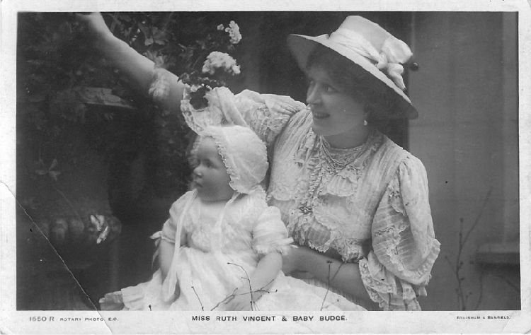 Miss Ruth Vincent & Baby Budge in Garden - No. 1650 R