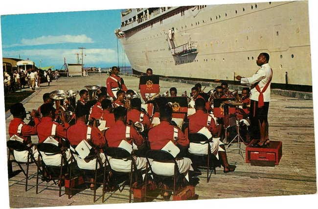 Black Americana Postcard Fijian Band-of the Fiji Military Forces