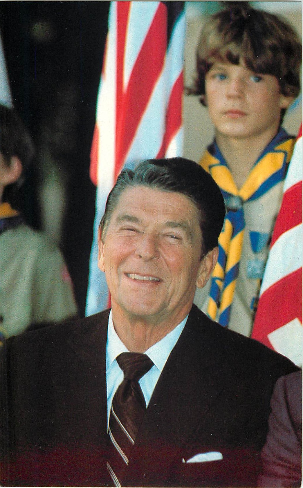 """Ronald Reagan with the Boy Scouts"""