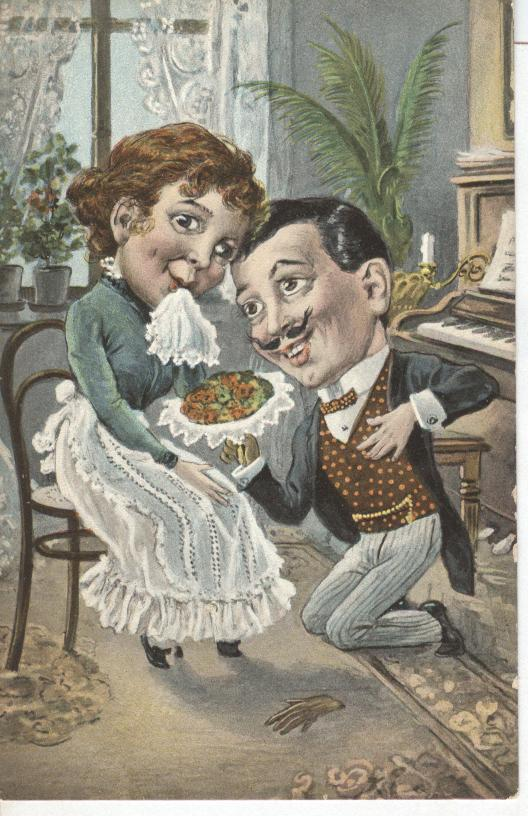 Large Head Couple at Dinner Comic Postcard