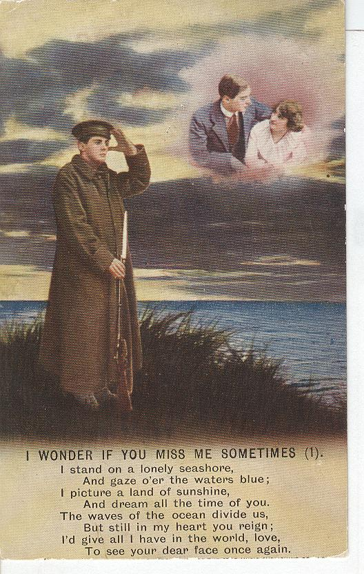 "World War 1 ""I Wonder If You Miss Me Sometimes"" Story Postcard"
