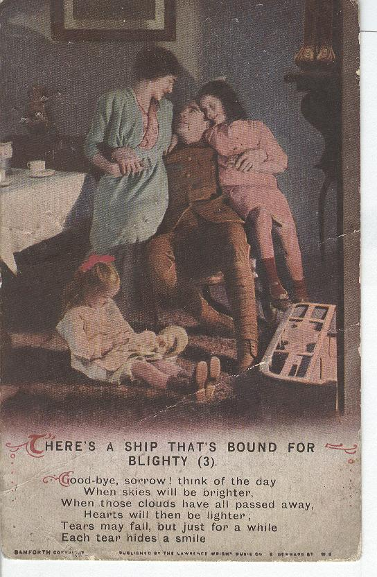 "World War 1""There's a Ship That's Bound For Blighty""Story Card"
