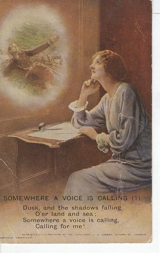 "World War 1 ""Somewhere A Voice Is Calling"" Story War Postcard"
