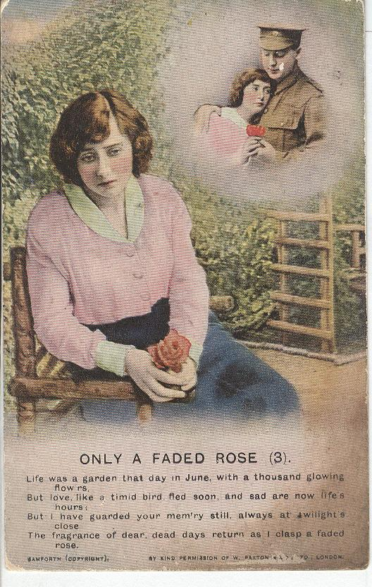 "World War 1 ""Only a Faded Rose"" Story War Postcard"
