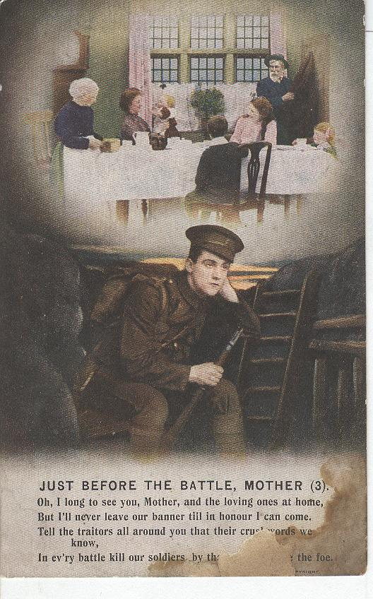 "World War 1 ""Just before The Battle,Mother"" Story War Postcard"