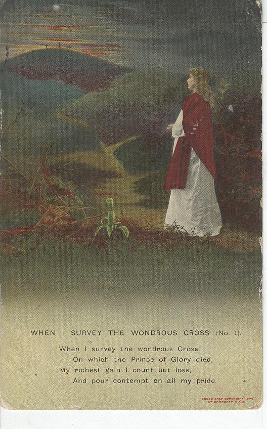 "World War 1 "" When I Survey The wonderous Cross"" Story Postcard"