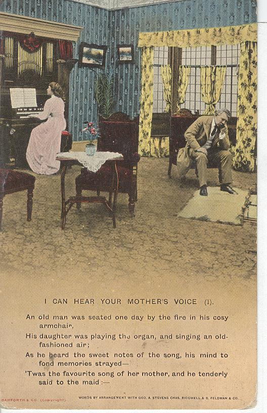 "World War 1 ""I Can Hear Your Mothers Voice"" Story War Postcard"
