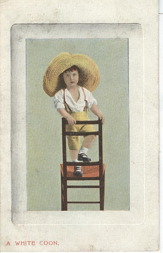 Glamour..Small Girl,Standing on Chair, Wearing a Large Hat