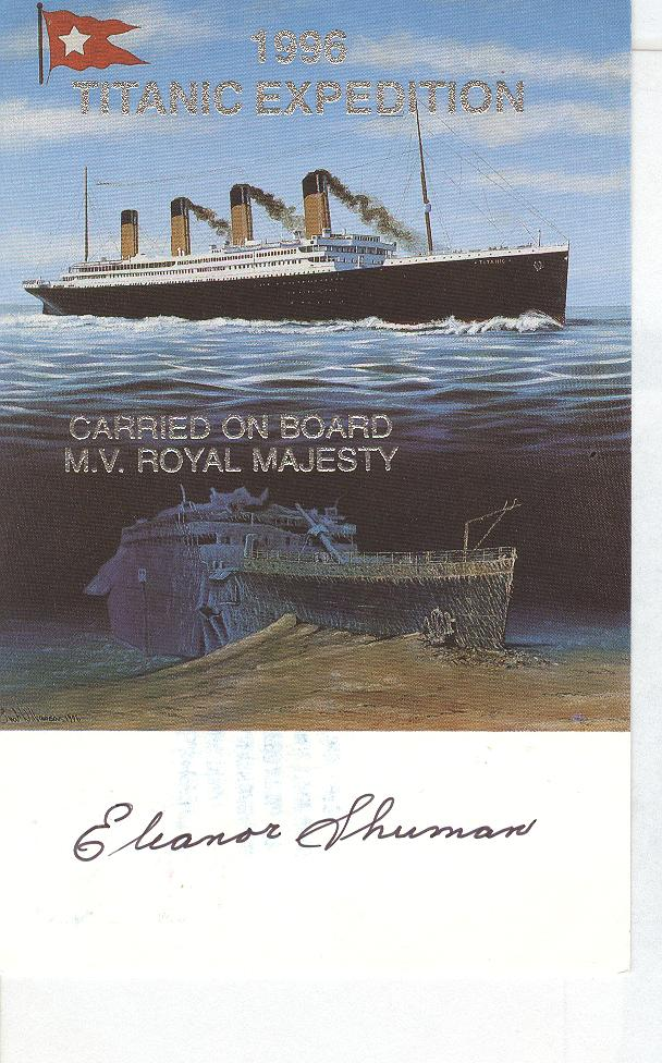 1996 Titanic Expedition....Autographed By Titanic Survivor
